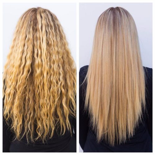 Long blonde hair from wavy frizzy hair to sleek smooth straight hair with hair botox