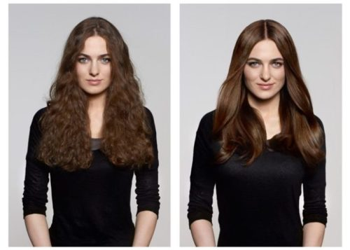 Long brunette hair from wavy frizzy hair to sleek smooth shiny straight hair with hair botox