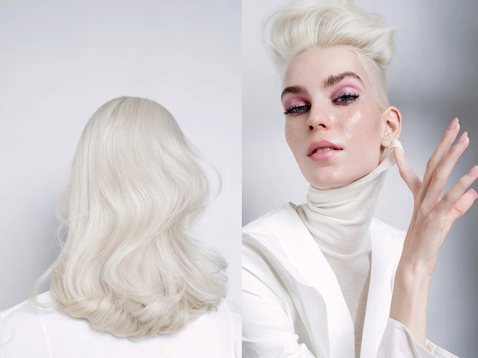 Icy blonde editorial hairstyle by Denis Perani