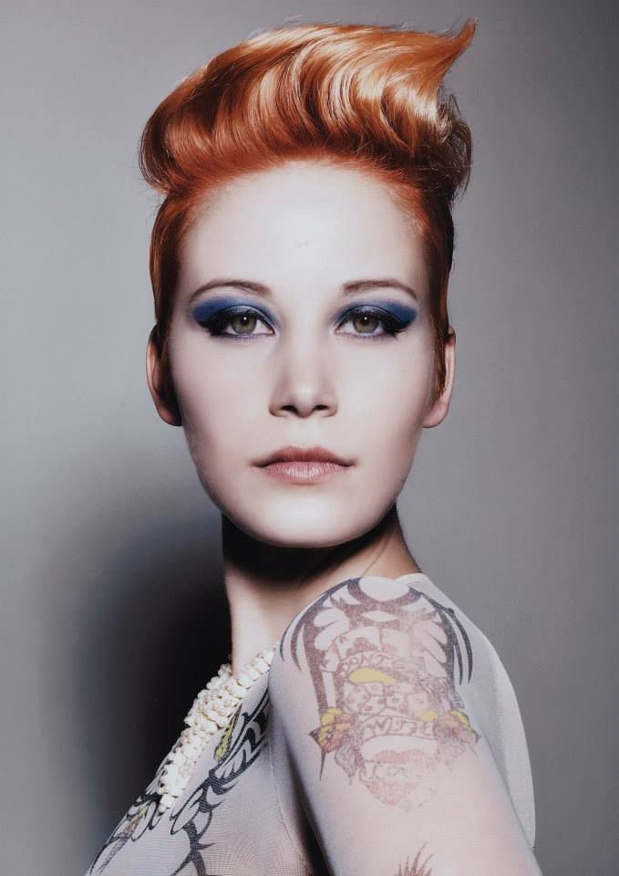 Short edgy Red Ginger Hairstyle with shaved sides by Denis Perani