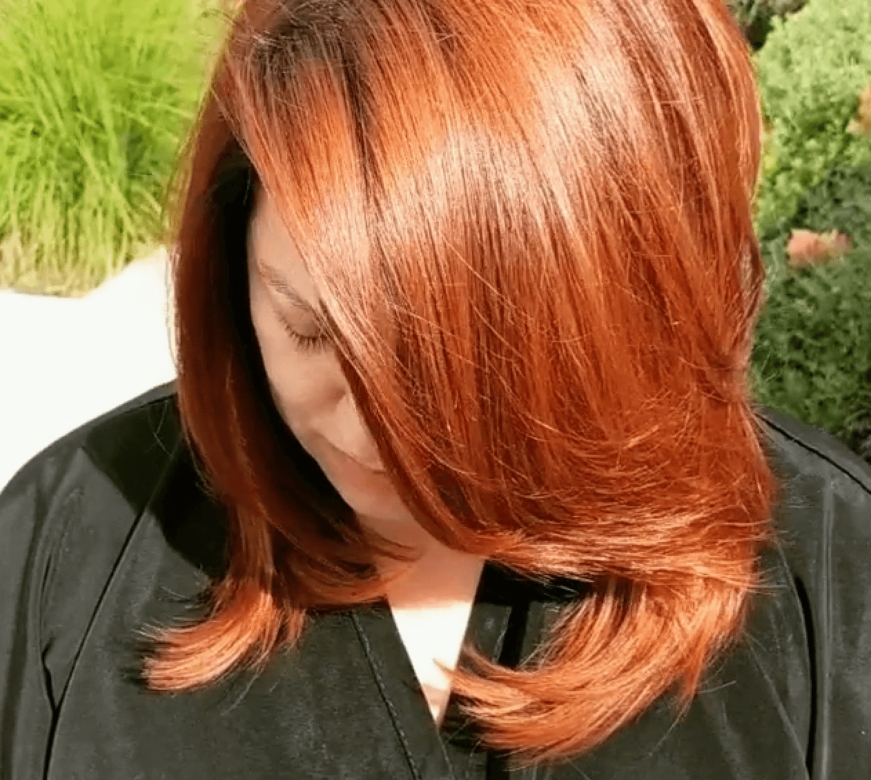 Medium length red hair outdoor by Jarrod Fisher