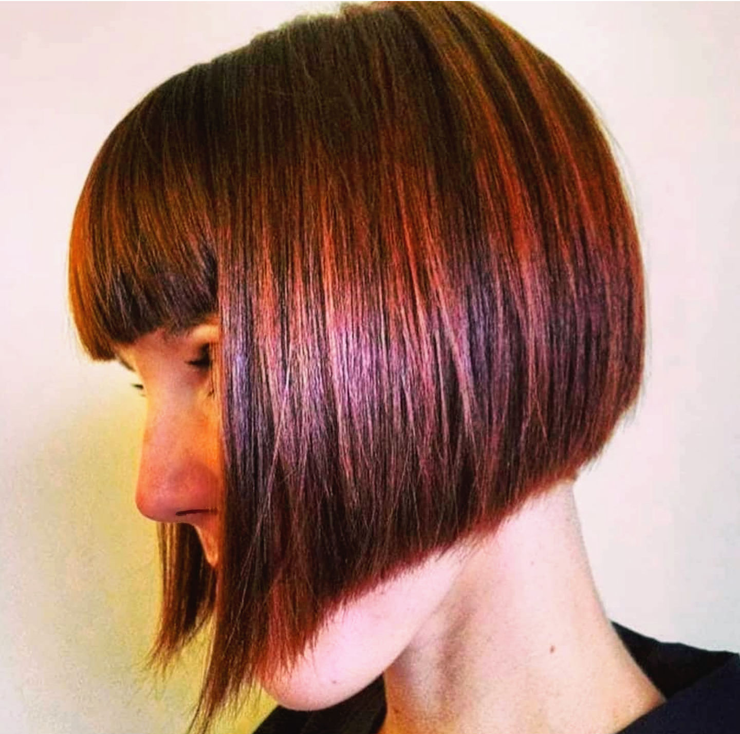 Red Hair bob sharp clean cut