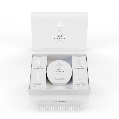 Iles Formula spa kit with shampoo conditioner hair mask and comb