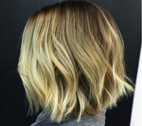 Thick blonde balayage short hair