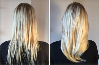 Thicker blonde hair before and after