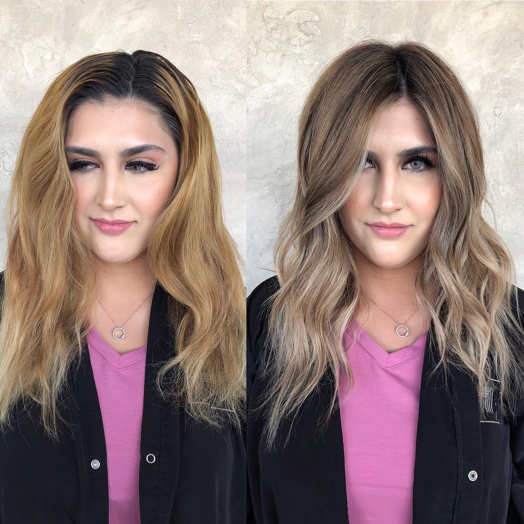 Before and after highlights for heart shaped face