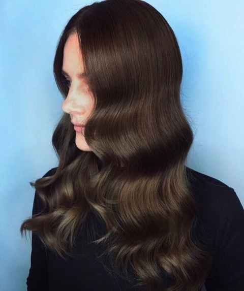 Long black brown brunette wavy hair by Christian Cartano