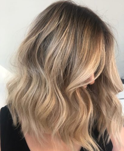 Long blonde balayage side view