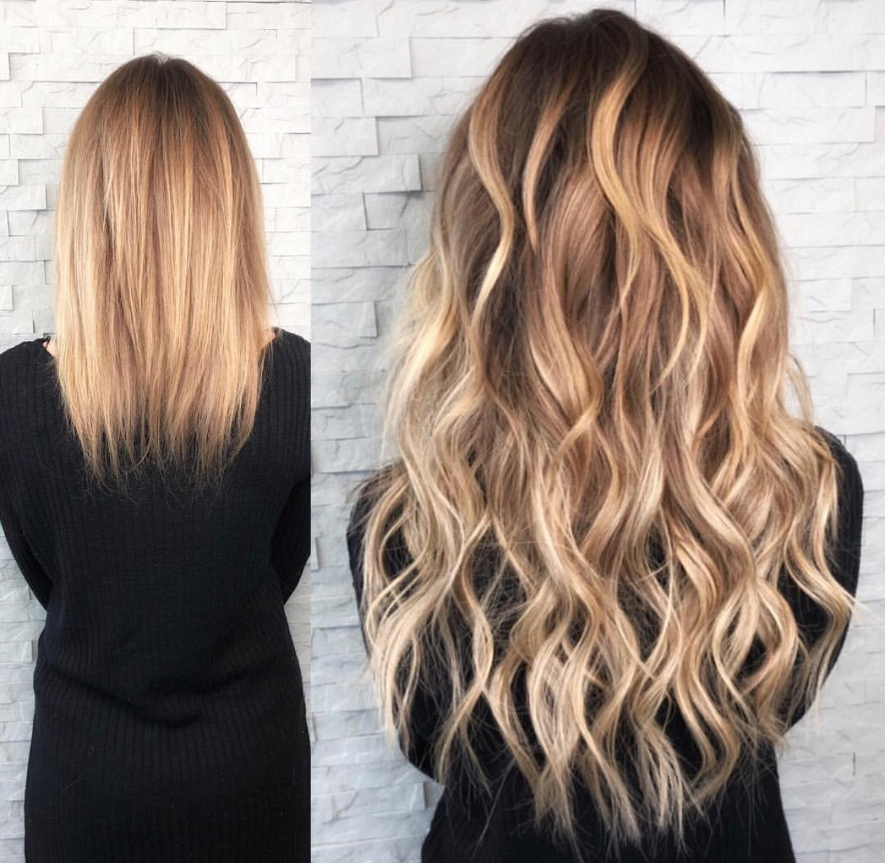 Blonde wavy extensions before and after by Katie Tellor