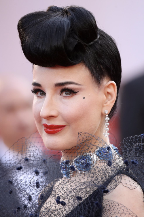 Dita Von Teese 40s quiff up do hairstyle at Cannes Film Festival 2019
