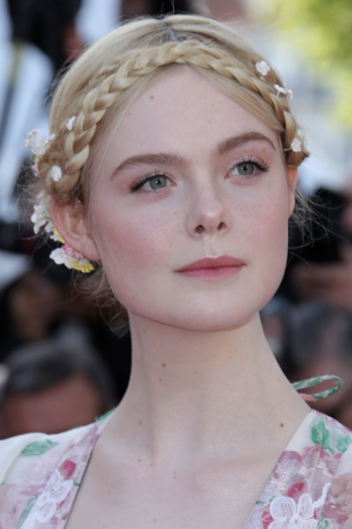 Elle Fanning braid up do hairstyle at Cannes Film Festival 2019