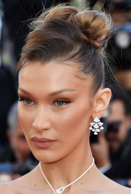 Bella Hadid chignon up do hairstyle at Cannes Film Festival 2019