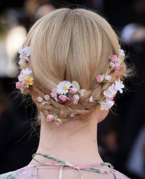 Back of Elle Fanning braid up do hairstyle at Cannes Film Festival 2019
