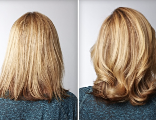 Before and after 3 step system on blonde hair