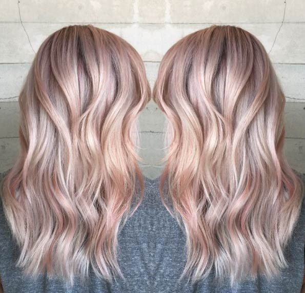 2019 summer hair color trend - pastel hair color - Icy Rose tint on Gold ombre - pink - Icy rose gold - angelic wavy hair - angel hair