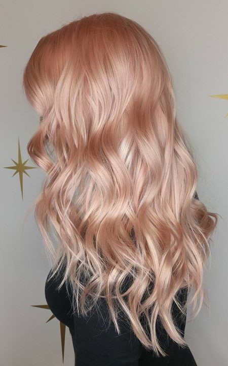 2019 summer hair color trend - pastel hair color - Icy Rose tint on Gold ombre - pink - Icy rose gold - wavy hair