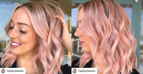2019 summer hair color trend - pastel hair color - Rose Gold - pink - wavy hair