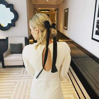 Low bun hairstyle - black ribbons - Valentine's day - hairstyle - Iles Formula Hair Ideas: 7 Quick-win Hair Styles for your Valentine's Day